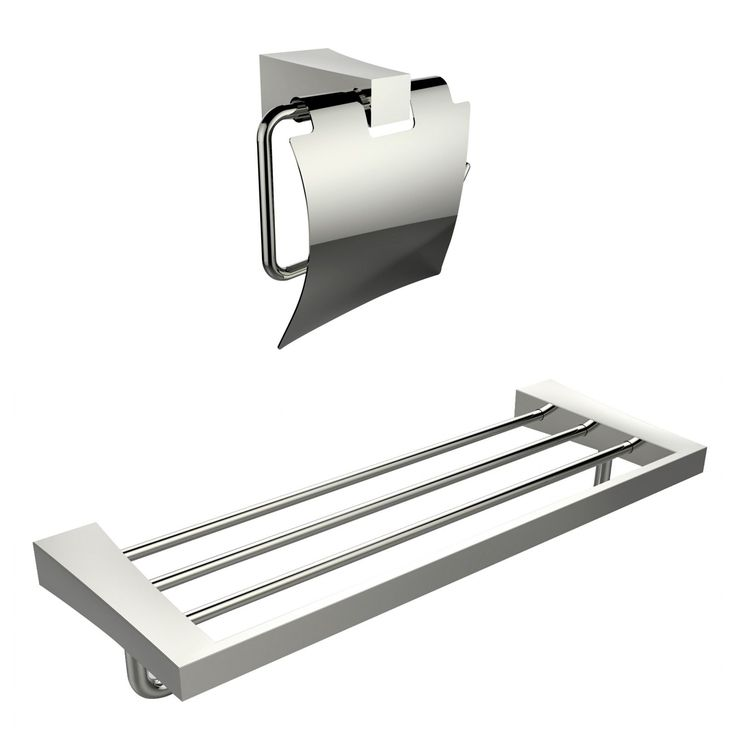 American Imaginations Multi-Rod Towel Rack With A Chrome Plated Toilet Paper Holder Accessory Set (Chrome), Silver (Metal)