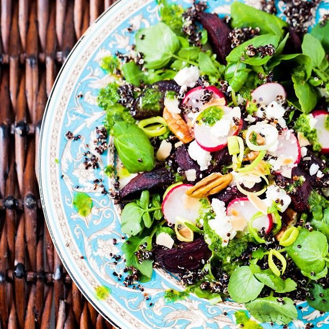 Something we love to do during our #SundayCookOff is soak a big bag of #quinoa overnight to make it easier to digest and reduce phytates (which can slow down the absorption of nutrients and minerals). It's then ready to be cooked and used in meals throughout the week, like this delicious Beetroot and Black Quinoa Salad!  Find the recipe on hemsleyandhemsley.com and get planning, so you can make the most of the upcoming #bankholiday weekend. #TheArtOfEatingWell
