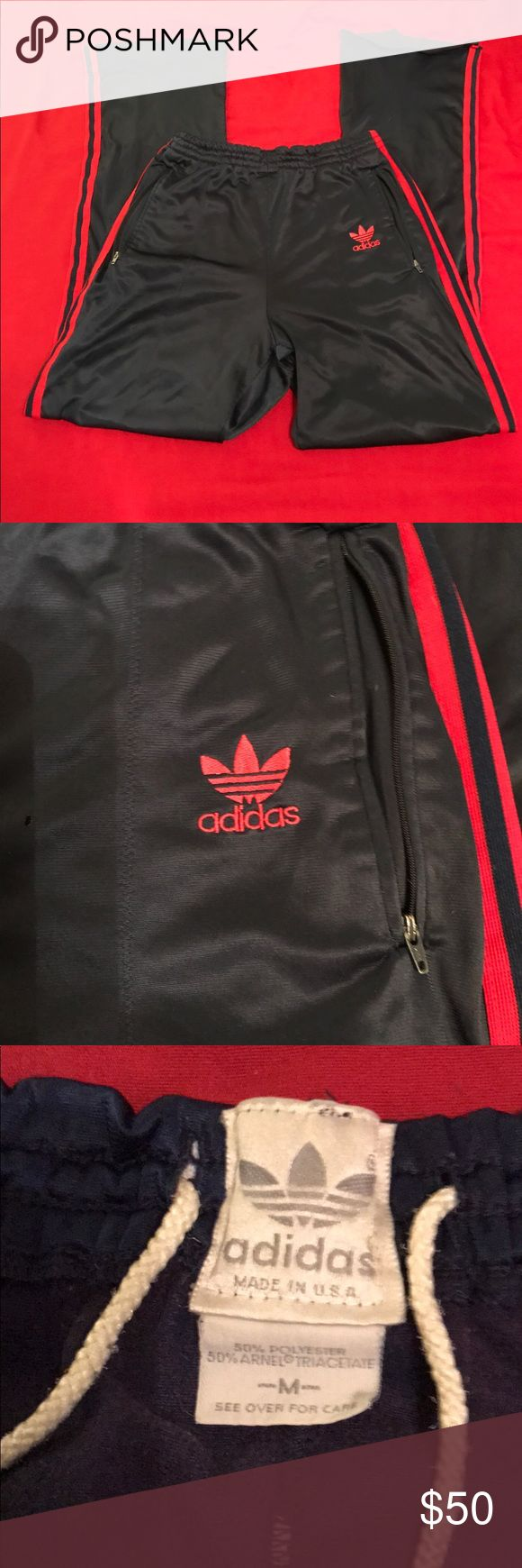 """TRUE VINTAGE ADIDAS SUPERSTAR TRACK PANTS TREFOIL These are worn and have been previously loved. Small hole that has been """"repaired"""", left leg hem has come undone. I would say that they fit like a Men's Extra Small/Women's Small. Two zippered side pockets. These are NAVY BLUE AND RED. adidas Pants Track Pants & Joggers"""
