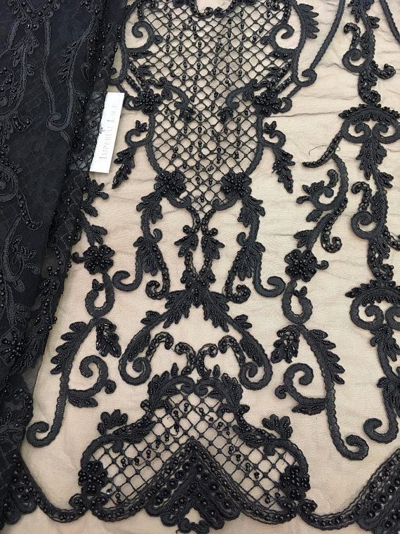 Black IMPERIAL DAMASK MESH LACE FABRIC BY THE YARD DIY DRESS DECOR BRIDAL