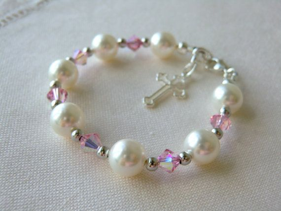 Pink Baby Bracelet for Christening, Baptism, or Communion Flower Girls Bracelet