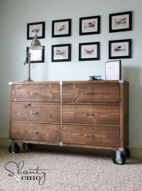 Fabulous #DIY rolling dresser (on wheels no less) made of #PureBond hardwood plywood courtesy of Shanty2Chic with free plans by Knock-Off Wood / Ana White! Absolutely love it ♥