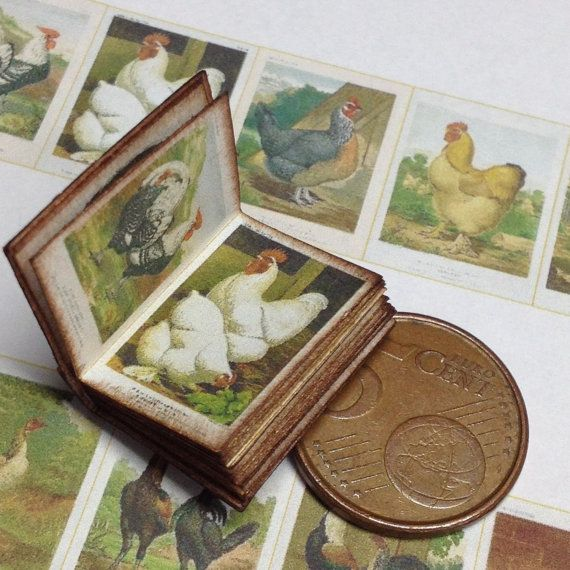 1:12 Miniature Poultry book by WeLoveMiniatures on Etsy