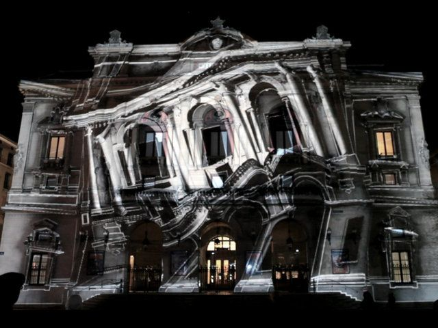 PERSPECTIVE LYRIQUE.  An interactive architectural mapping. Fete des Lumieres / Lyon / France / 2010  A mapping by 1024 Architecture, project...