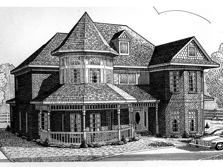 2story home 054h0026 in 2020 victorian house plans