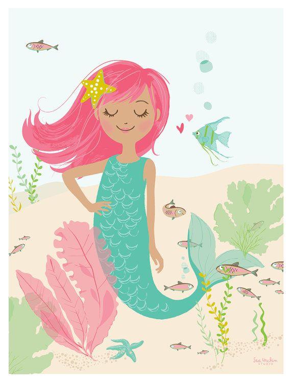 "Deep Sea Cutie - 12"" x 16"" mermaid poster print - Nursery art for children on Etsy, $24.00"