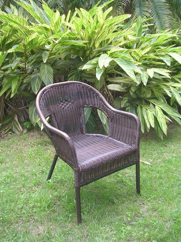 International Caravan Resin Wicker Outdoor Set of Two Bistro Chairs