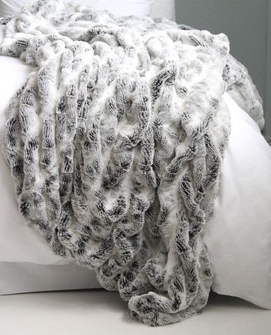 Grey Frosted Faux Fur Throw.  Au Lit Linens - Toronto