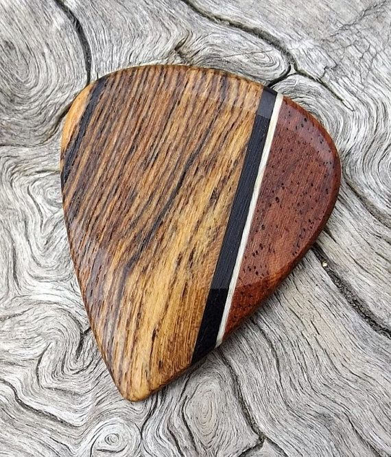 Handmade Premium Multi-Wood Guitar Pick - Actual Pick Shown - No Stock Photos