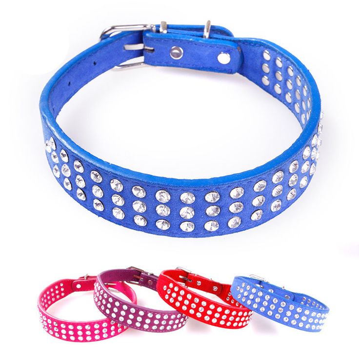 Freeshipping 3 Rows Bling Rhinestone Puppy Dog Collar 4 Color Perros PU Leather Necklace For Chihuahua Small to Medium Dogs #Affiliate