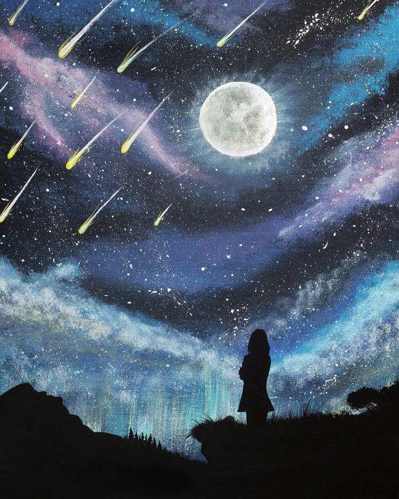 Meteor Shower Silhouette Painting, Original Acrylic Painting on Canvas, Original Artwork, Night Sky Meteor Shower, Stars on Canvas