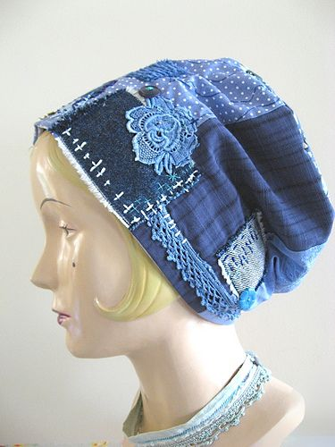 Indigo Patchwork Mama Hat by Debra Dorgan