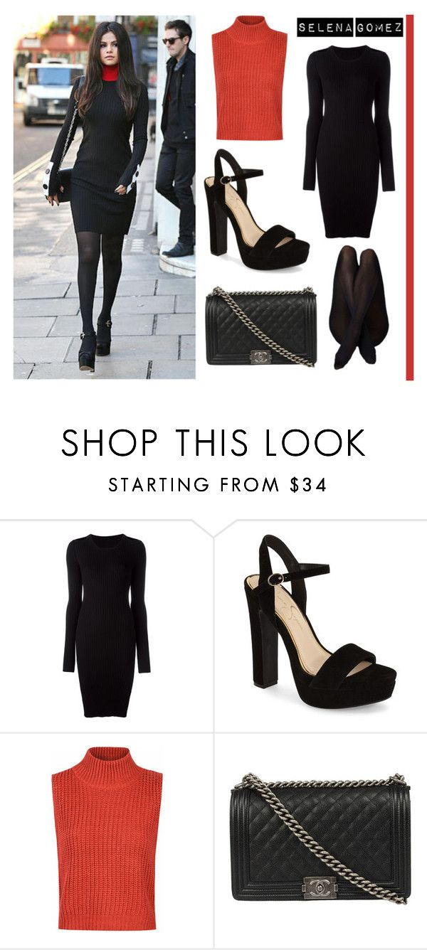 """""""Selena Gomez"""" by eviejessup on Polyvore featuring MM6 Maison Margiela, Jessica Simpson, Glamorous and Chanel"""