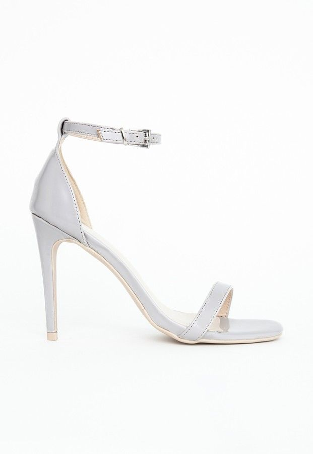 $49, Grey Leather Heeled Sandals: Missguided Clara Grey Strappy Heeled Sandals. Sold by Missguided. Click for more info: https://lookastic.com/women/shop_items/95894/redirect