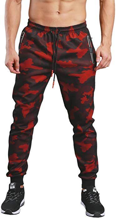 Amazon.com  KaiDi Men s Slim Fit Drawstring Classic Camo Joggers Pants  Zipper Pockets (Red 27988f4bee9