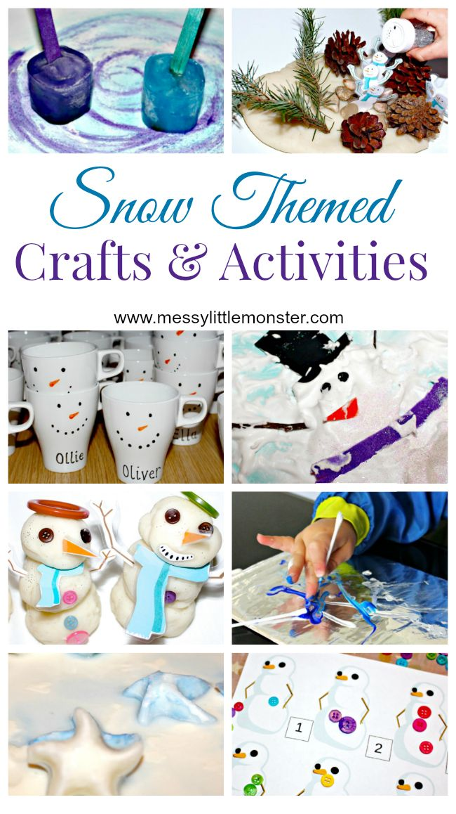 Snow, snowman and snowflake themed Winter crafts and activities for kids. Suitable for all the family from toddlers and preschoolers upwards.