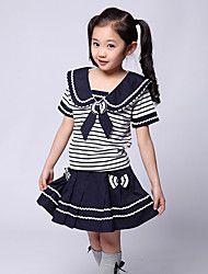 Pigens Student Uniform Style Mini Skørt tøj sæt – DKK kr. 100