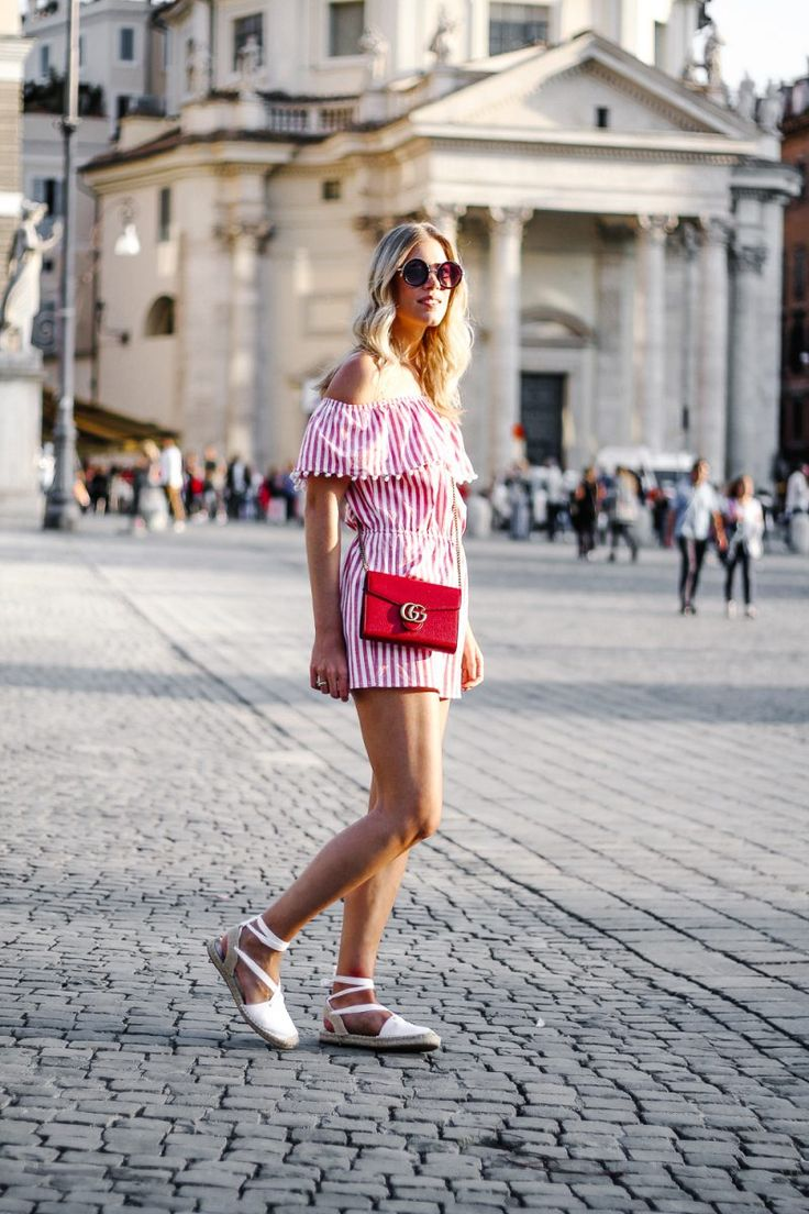 Summer outfit, Blogger Style, summer 2017, Jumpsuit, Stripes, Street style, Gucci, red, summer trends