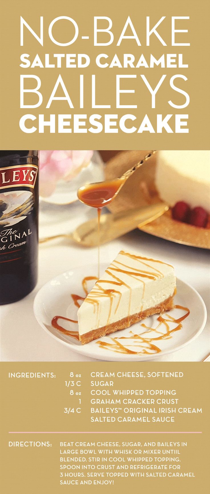 This no-bake, salted caramel-topped Baileys cheesecake recipe is everything you've dreamed of. A touch of sweet Baileys complements the salted caramel perfectly, while the cool whipped topping makes the cheesecake extra fluffy. Don't worry, this decadent dessert is super easy to prepare, so you'll have more time to indulge.