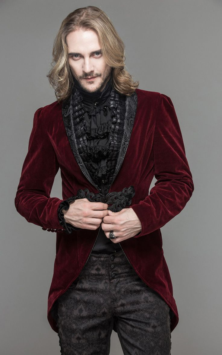 Veste homme en velours rouge, attache brodée et col décoré, élégant aristocrate gothique