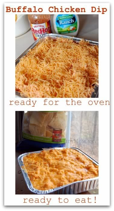 Buffalo Chicken Dip (printable recipe) 3-4 cooked chicken breasts, shredded 8oz. Ranch