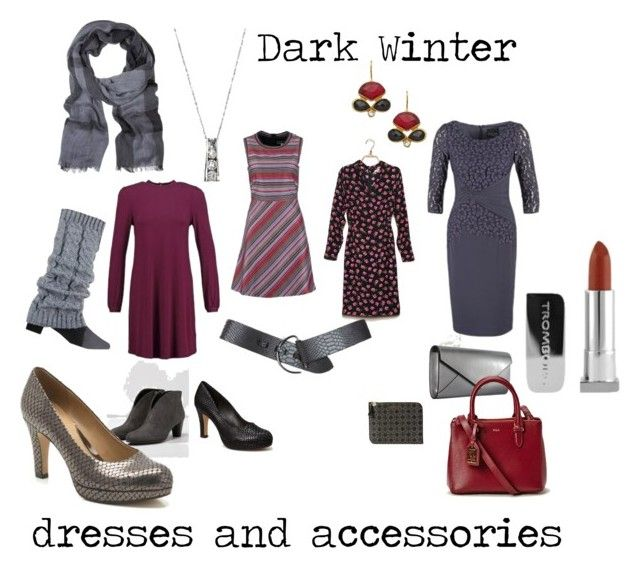 """""""Dark Winter dresses and accessories"""" by fargeporten ❤ liked on Polyvore featuring Dorothy Perkins, Sportmax, DAY Birger et Mikkelsen, Trilogy, Smythson, Kanupriya, Stephen Collins and Burberry"""