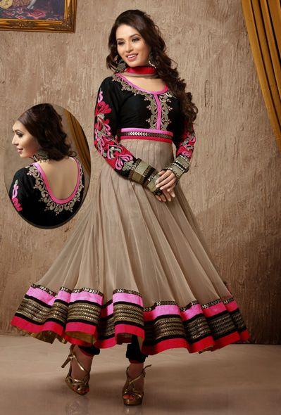 USD 138.09 Brown Embroidered Velvet Anarkali Salwar Kameez 31343