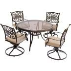 Hanover Traditions 5-Piece Aluminum Outdoor Dining Set with Round Glass-Top Table and Swivel Chairs with Natural Oat Cushions