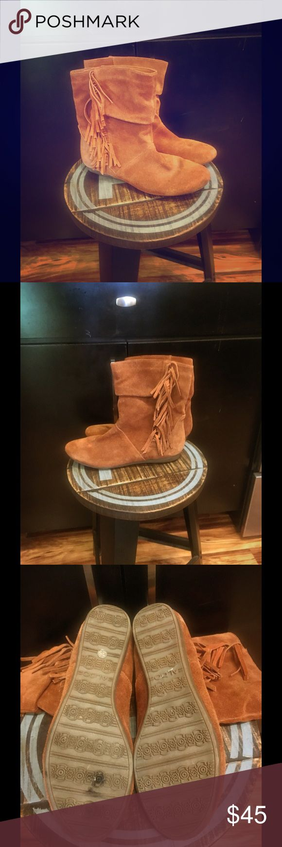 Aldo Moccasin Ankle Boots with Fringe Brown leather women's Aldo moccasin ankle boots size 7.5 (38 Euro). They are used without box but have only been worn a few times and are in great shape! Aldo Shoes Moccasins