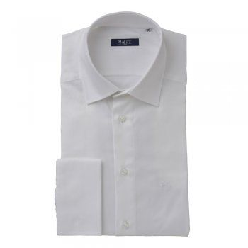 A tailored fitting double-cuff shirt. The fabric is a classic white twill cotton. Features include, double-cuffs, removable collar bones, a cut-away collar and wolfhound.