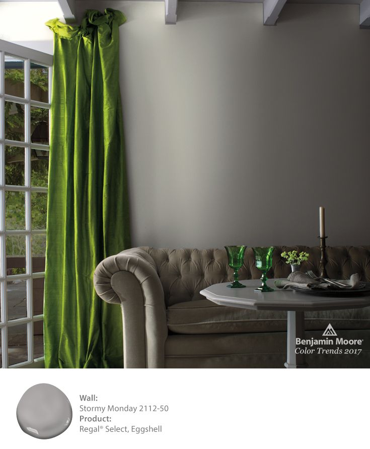 Green accents against our Stormy Monday 2112-50 color in Regal Select paint create a sophisticated look with an unexpected pop of color.