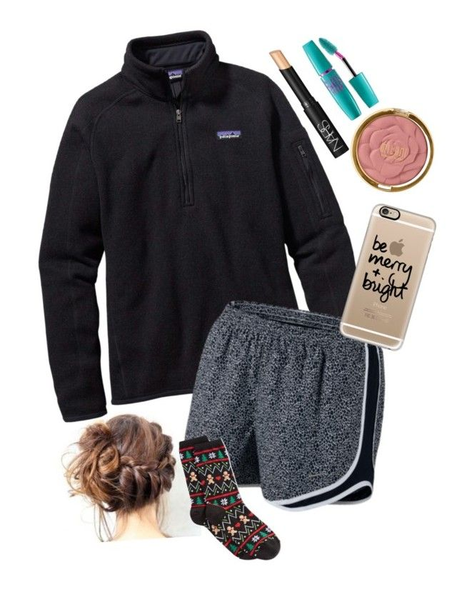 """""""Be merry and bright it's December!!"""" by annahbirch ❤ liked on Polyvore featuring interior, interiors, interior design, home, home decor, interior decorating, Patagonia, NIKE, NARS Cosmetics and Casetify"""