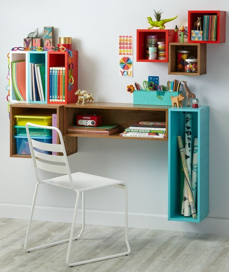 Shop Cubby Wall Shelf Collection.  Our Cube and Narrow Wall Shelves connect to modular pieces in our Cubby Wall Shelf Collection to build shelves, desks & more for your kids' room.