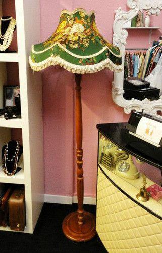 green floral 50s 1950s kitsch retro vintage wooden standard lamp shade light | eBay