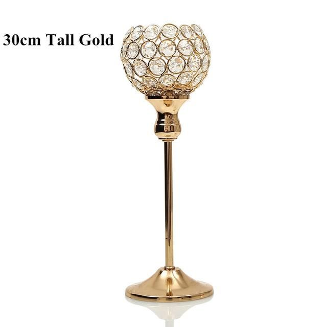 Crystal Tealight Candle Holders Metal Glass Candlesticks Stand Wedding Table Centerpieces Party Holiday Home Decoration,6 Sizes