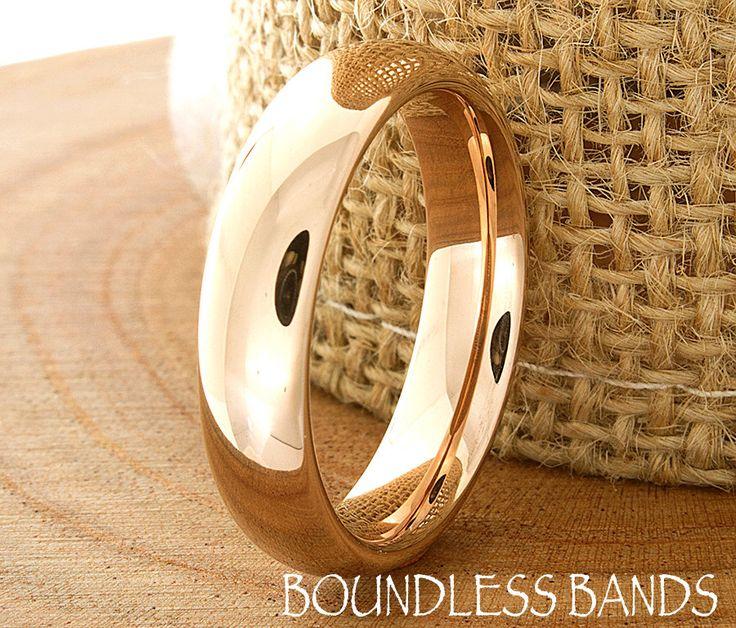 Color de rosa de oro anillo de bodas tungsteno Dom alto pulido banda clásico moderno diseño láser grabado anillo para hombre aniversario banda rosa chapado en oro nuevo de BoundlessBands en Etsy https://www.etsy.com/es/listing/230434250/color-de-rosa-de-oro-anillo-de-bodas