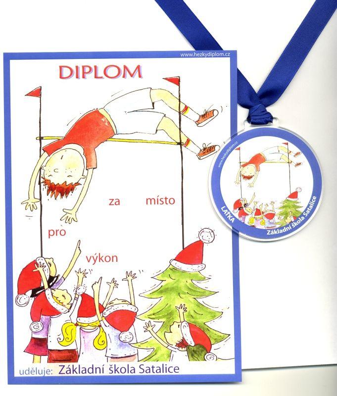 medaile a diplom pro vítěze ve vánoční soutěži ve skoku do výšky
