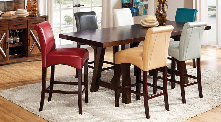 picture of Mango Burnished Walnut 5 Pc Counter Height Dining Room with Tan Barstools  from  Furniture