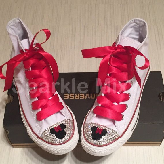 Adults Minnie Mouse Style white Converse with Red ribbon laces Swarovksi Crystal  Bling High Tops