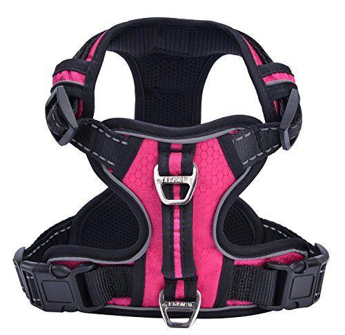 PUPTECK Best Front Range No-Pull Dog Harness with Vertical HandleCalming Adjustable Reflective Outdoor Adventure Pet VestPink XL