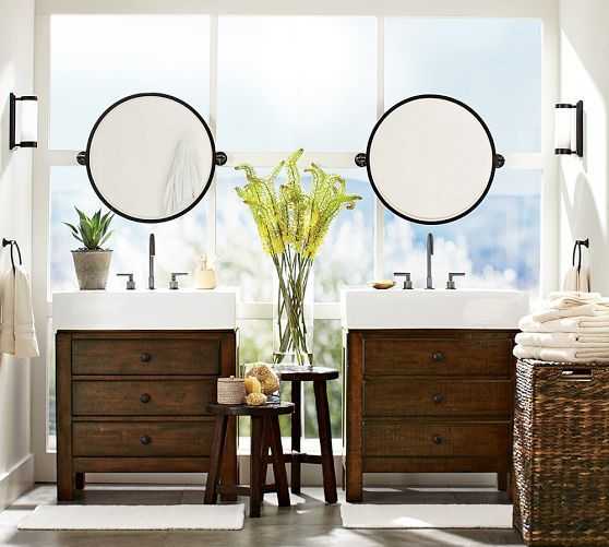 Kensington pivot round mirror pottery barn lighting - Round mirror over bathroom vanity ...