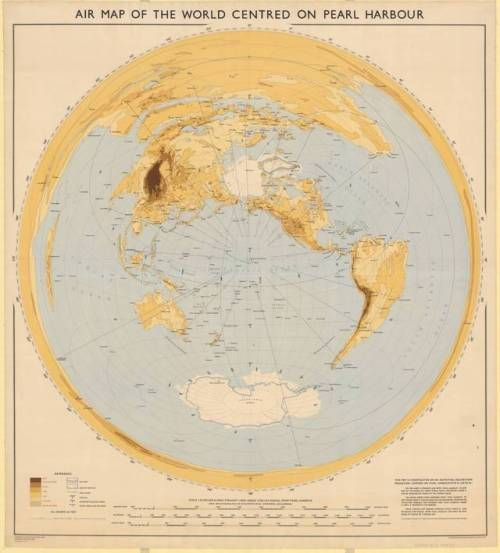 Map of the world centered on Pearl Harbor, 1947