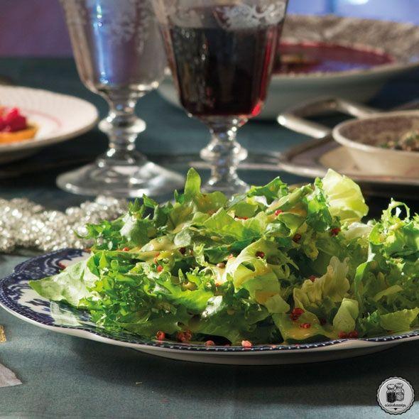 Πράσινη σαλάτα με βινεγκρέτ πορτοκαλιού