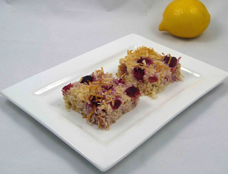 Try this Lemon, ricotta and raspberry slice made with coconut flour, shredded coconut, ricotta cheese, coconut milk, fresh lemons, raspberries and sweetened with stevia. Find the recipe at my blog.