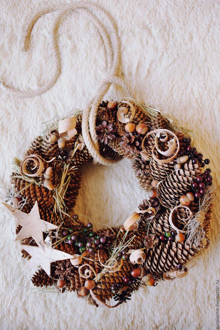 """Купить Новогодний венок """"Стильное эко"""" - коричневый, венок, венок ручной работы, венок на дверь"""