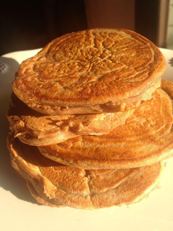 Easy Protein Pancakes: 3 Egg Whites, 1 Scoop protein, 1/2 tsp Cinnamon, 1 Stevia Packet. 134 calories for four silver dollar size.