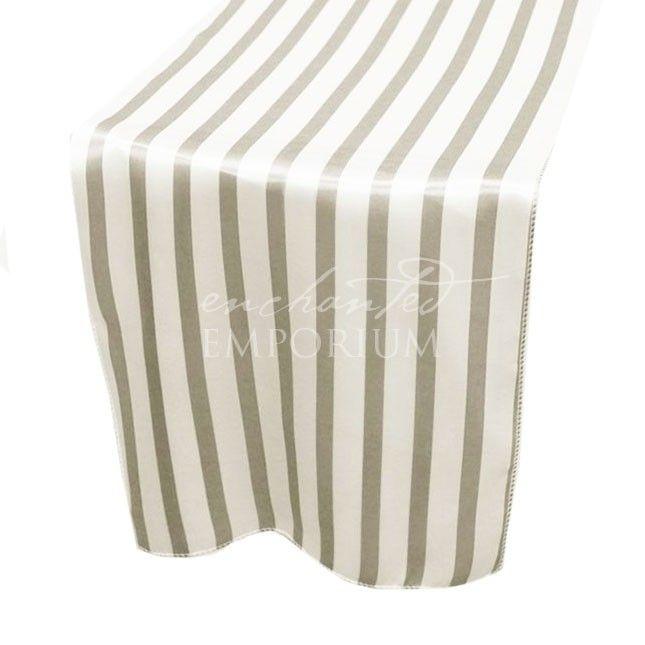Silver & White Striped Satin Table Runner, Enchanted Emporium
