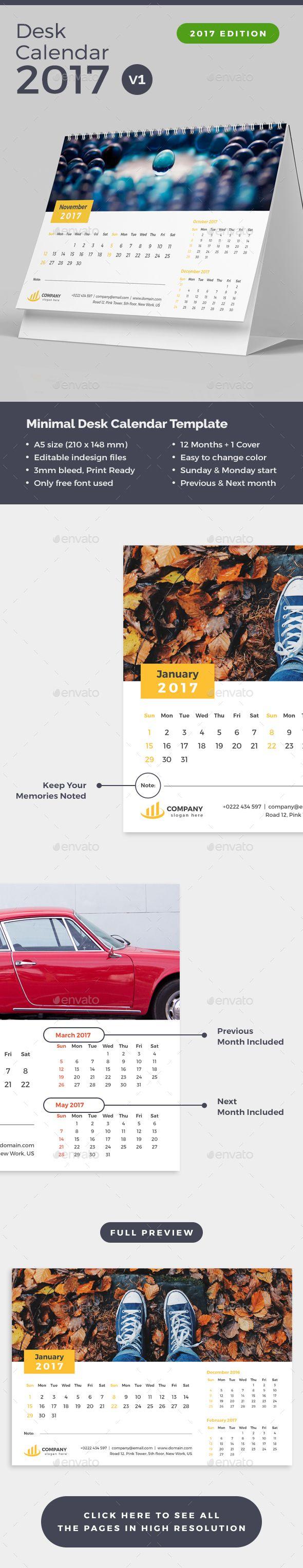 Desk Calendar 2017 — InDesign INDD #sunday #office • Download ➝ https://graphicriver.net/item/desk-calendar-2017/19199396?ref=pxcr