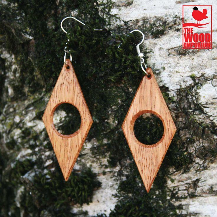 Rhombus Wood Handmade Earrings