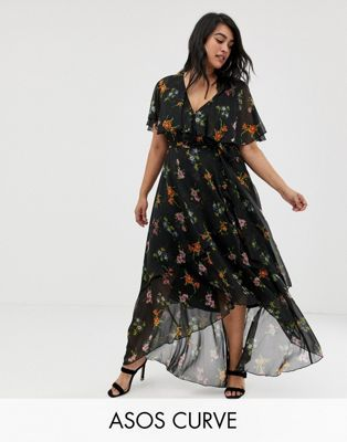 bc95d12ef48 Image 1 of ASOS DESIGN Curve maxi dress with cape back and dip hem in dark  floral print